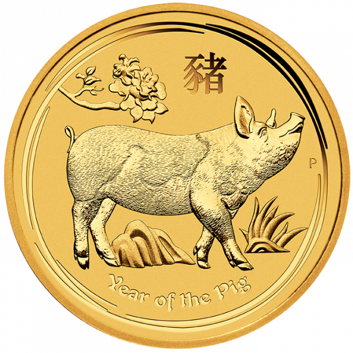 1/4 Unze Gold Lunar II Schwein 2019
