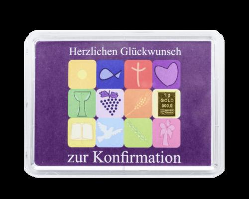 1 g Gold Geschenkkarte Herzlichen Glückwunsch zur Konfirmation