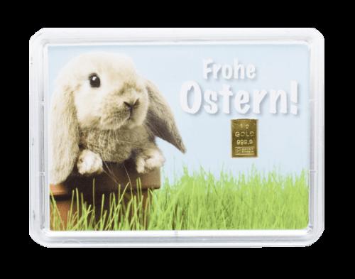"1 g Gold Geschenkkarte ""Frohe Ostern"""