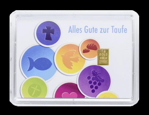 """1 g Gold Geschenkkarte """" Alles Gute zur Taufe"""""""