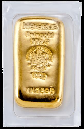 100g Goldbarren Heraeus gegossen