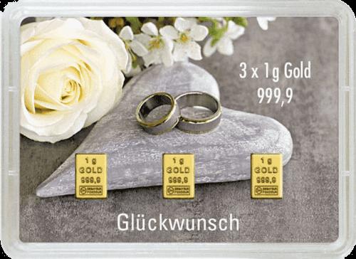 3 g Gold Geschenkkarte Glückwunsch zur Hochzeit
