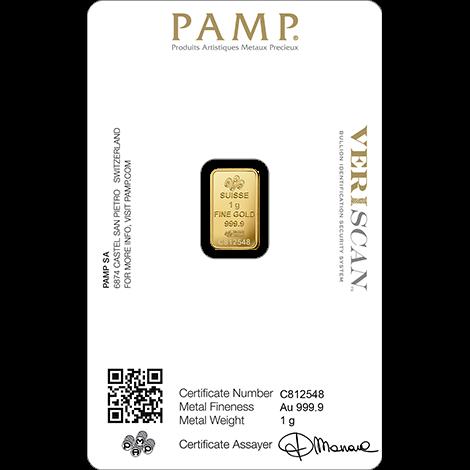 1 g Goldbarren PAMP Suisse