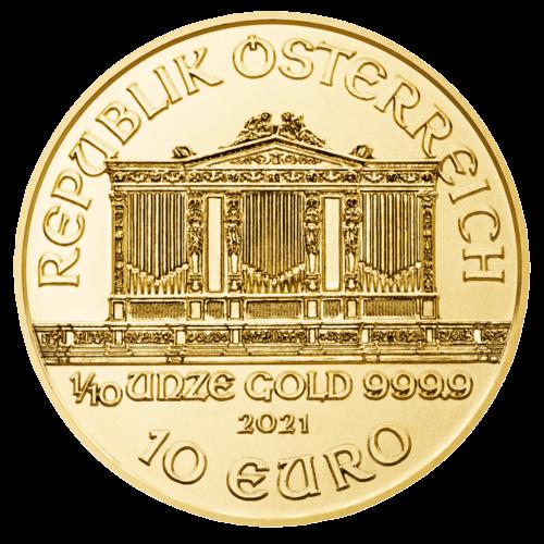 1/10 Unze Gold Wiener Philharmoniker 2021 (mehrwertsteuerfrei)