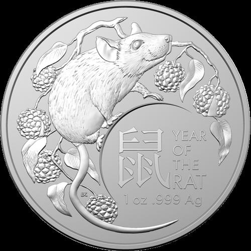1 Unze Silber Australien (RAM) Lunar II Ratte 2020