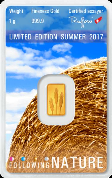 1 g Goldbarren Heraeus Following Nature 2017 Sommer