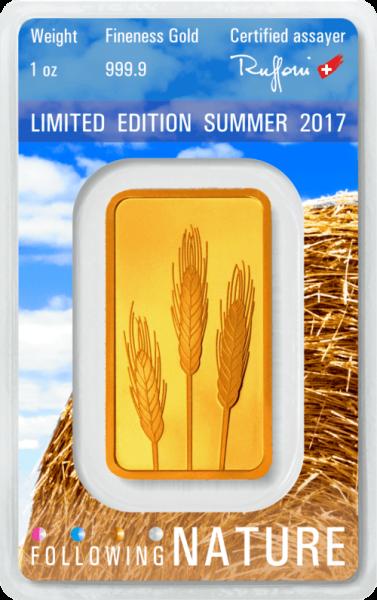 1 Unze Goldbarren Heraeus Following Nature 2017 Sommer