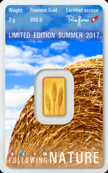 2 g Goldbarren Heraeus Following Nature 2017 Sommer