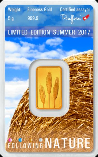5 g Goldbarren Heraeus Following Nature 2017 Sommer