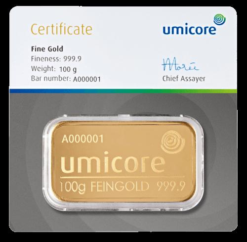 100 g Goldbarren Umicore geprägt