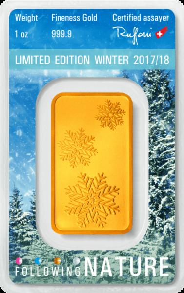 1 Unze Goldbarren Heraeus Following Nature 2017/18 Winter