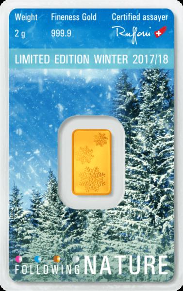 2 g Goldbarren Heraeus Following Nature 2017/18 Winter