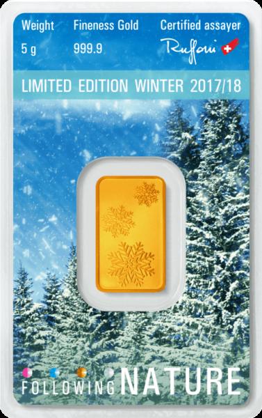 5 g Goldbarren Heraeus Following Nature 2017/18 Winter