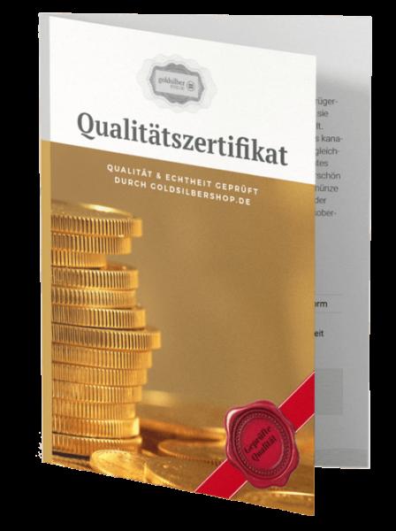 Qualitätszertifikat Gold Maple Leaf