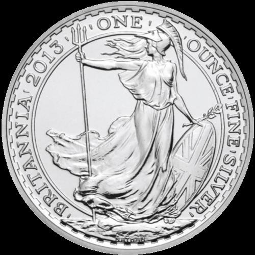 1 Unze Silber Britannia | Vorderseite der Britannia Silbermünze 1 Unze der Royal Mint