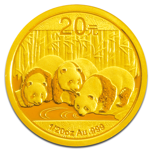 1/20 Unze Gold China Panda   Vorderseite der Panda Goldmünze 1/20 Unze der China Mint
