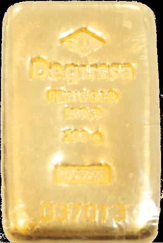 250 g Goldbarren Degussa