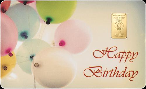 1 g Goldbarren FineCard Happy Birthday