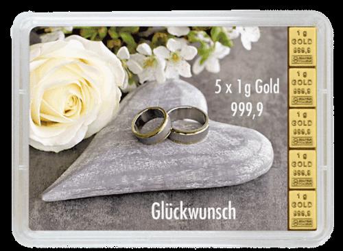 5 g Gold Geschenkkarte Glückwunsch zur Hochzeit