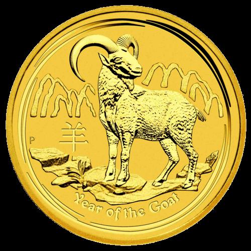 10 Unzen Gold Lunar II Ziege 2015