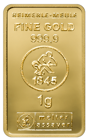 1 g Goldbarren Heimerle und Meule geprägt