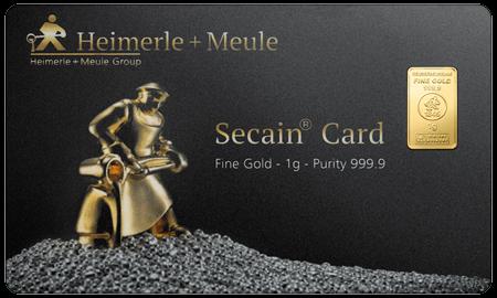1 g Goldbarren Secain Card Heimerle und Meule
