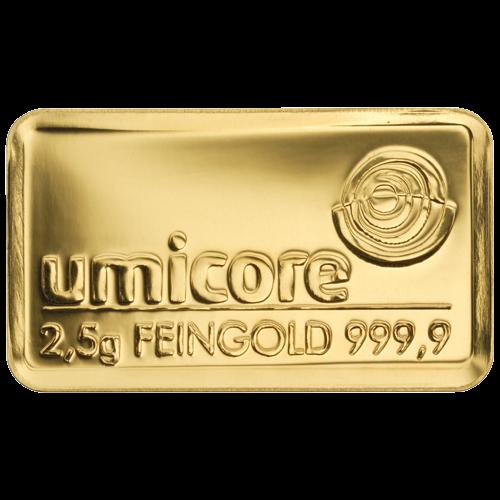 2,5g Goldbarren von Degussa und Umicore | Goldbarren 2,5g von Degussa und Umicore