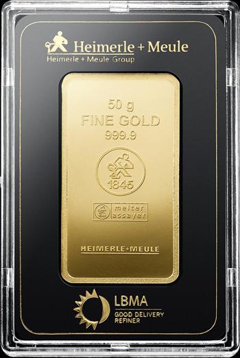50 g Goldbarren Heimerle und Meule geprägt
