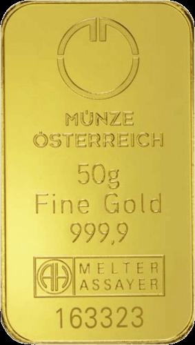 50 g Goldbarren Münze Österreich