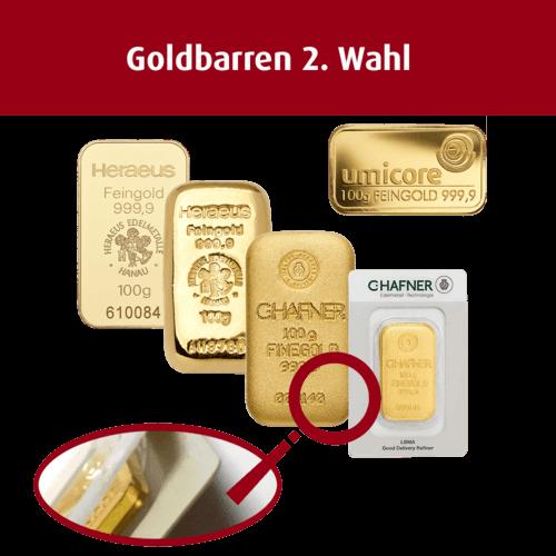 100 g Goldbarren (2. Wahl)