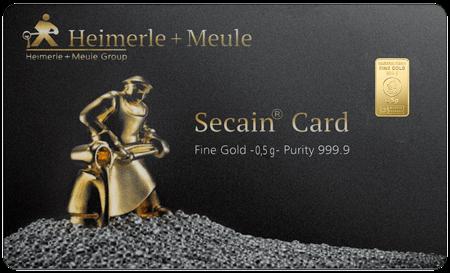 0,5 g Goldbarren Secain Card Heimerle und Meule
