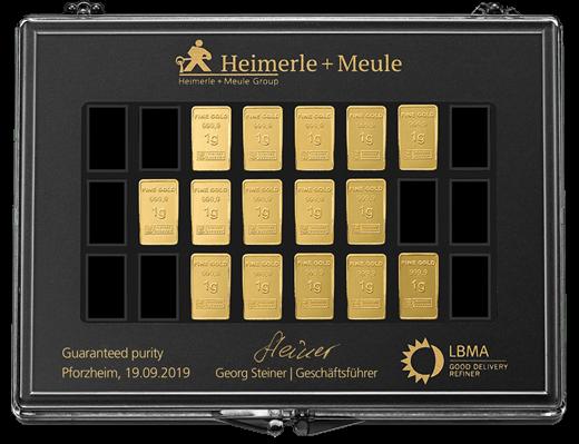 15 x 1 g Gold UnityBar Collection Heimerle und Meule