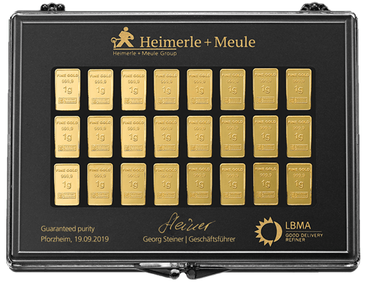 30 x 1 g Gold UnityBar Collection Heimerle und Meule
