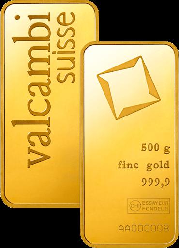 500 g Goldbarren Valcambi geprägt