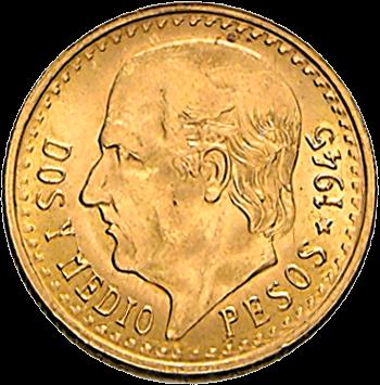 1,87 g Gold 2,5 Pesos Mexiko Centenario
