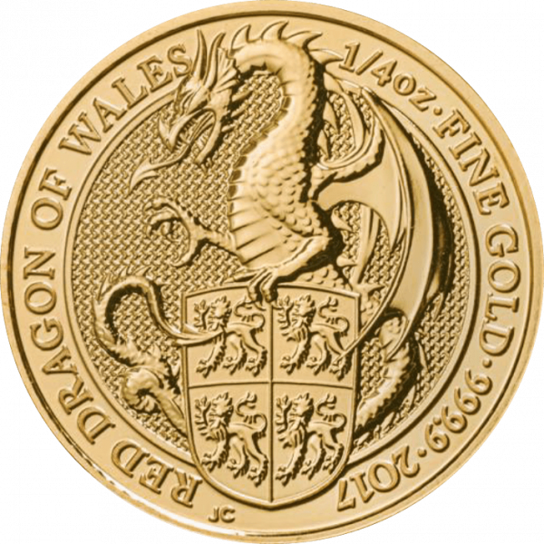 1/4 Unze Gold The Queen´s Beasts - Red Dragon of Wales 2017