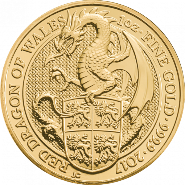 1 Unze Gold The Queen´s Beasts - Red Dragon of Wales 2017