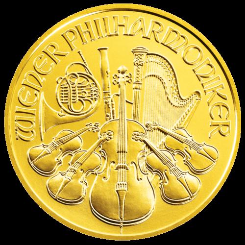 Vorderseite der 1 Unze Goldmünze Wiener Philharmoniker | Vorderseite der Goldmünze 1 Unze Wiener Philharmoniker von Münze Österreich