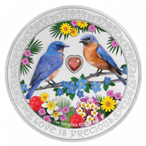 1 Unze Silber Love is Precious Bluebirds