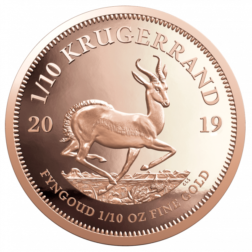 1/10 Unze Goldmünze Krügerrand   Rückseite Goldmünze Krügerrand 1/10 Unze von South African Mint