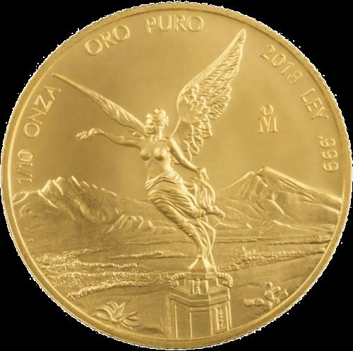 1/10 Unze Gold Mexiko Libertad   Vorderseite der Goldmünze 1/20 Unze Libertad Mexico der Casa de Monada de México