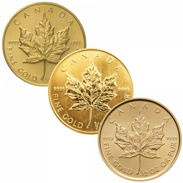 1/2 Unze Goldmünze Maple Leaf | Vorderseite Goldmünze 1/2 Unze Maple Leaf von The Royal Canadian Mint