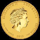 Rückseite der 1 Unze Goldmünze Australien Lunar 2013 Schlange | Rückseite 1 Unze Goldmünze Australien Lunar 2013 Schlange von The Perth Mint Australia