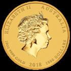 10 Unzen Gold Lunar II Hund 2018