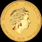 10 Unzen Gold Lunar II Schwein 2019