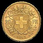 Rückseite Goldmünze 5,81g Gold Vreneli 20 Franken | Rückseite Vreneli Goldmünze 5,81 von Eidgenössische Münzstätte Bern