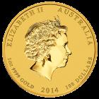 Rückseite der 1 Unze Gold Lunar Pferd 2014 | Rückseite der 2014er 1 oz Lunar Motiv Pferd aus Gold der Perth Mint Australia