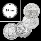 Münzkapsel 39 mm für 1 oz Arche Noah, Britannia, Cook Islands, Eule von Athen
