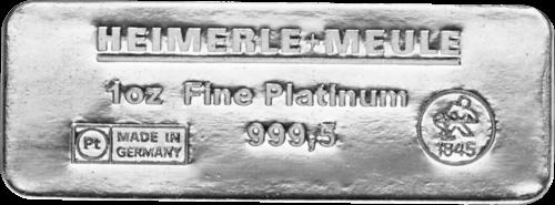1 Unze Platinbarren Heimerle und Meule Sargform