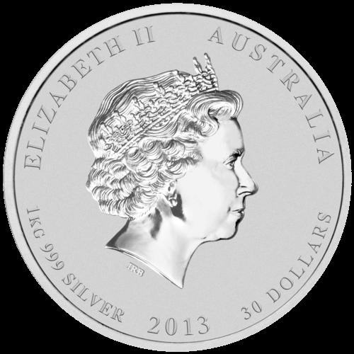 Rückseite der 1kg Silbermünze Australien Lunar 2013 Schlange | Rückseite Silbermünze 1kg Australien Lunar 2013 Schlange von The Perth Mint Australia